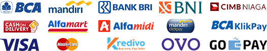 Melayani pembayaran melalui transfer antar bank BCA, BNI, BRI, Mandiri, CIMB maupun melalui Kartu Kredit, BCA KlikPay, Mandiri ClickPay, Alfamart Group, OVO, Go-Pay, Kredivo(Beli Sekarang, Bayar Nanti) maupun Cash on Delivery(COD), belanja semakin aman