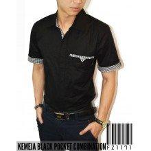 Kemeja Pocket Combination Black
