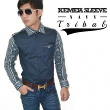 Kemeja Sleeve Tribal Navy