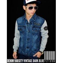 Denim Varsity Jacket Vintage Dark Blue