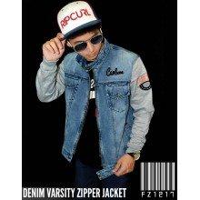 Denim Varsity Zipper Jacket