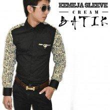 Kemeja Sleeve Batik Cream