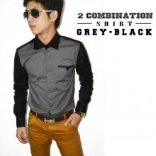 Two Combination Shirt Grey n Black