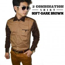 Two Combination Shirt Soft n Dark Brown