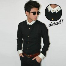 Kemeja Waffle Neck Combination Black