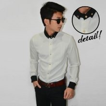 Kemeja Waffle Neck Combination White