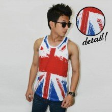 Mens Tank Top American Flag Painting - Fitness Clothing