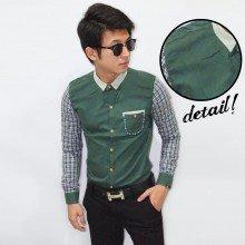 Kemeja Sleeve Checkered Neck Contrast Dark Green
