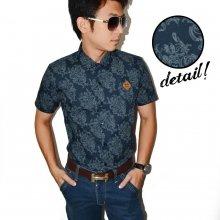 Kemeja Short Batik Pattern Navy