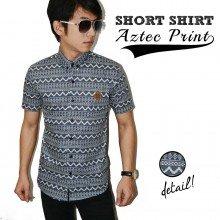 Kemeja Short Aztec Print