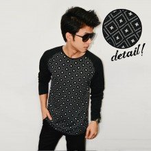 Raglan Square Plus Pattern Black