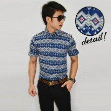 Kemeja Short Batik Webbing Blue