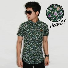 Kemeja Short Flower Green Pattern