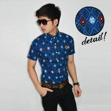 Kemeja Short Wall Batik Pattern Blue