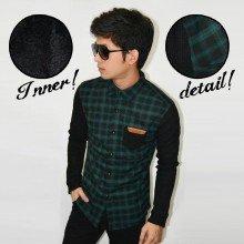 Kemeja Square Winter Sleeve Knit Green