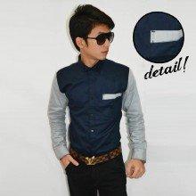 Kemeja Top Oblique Pocket Navy Sleeve Soft Grey