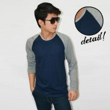 Raglan Tee Long Sleeve Dark Navy Soft Grey