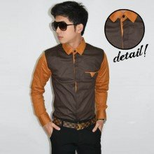 Sleeve Combination Shirt Dark Chocolate