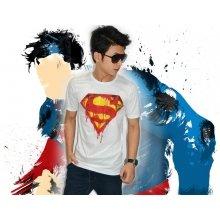 Superman Burning White Tee - SUPERHERO T-SHIRT