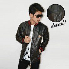 Jacket Varsity Leather Quilted Combine Brown