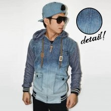Jacket Denim Hoodie Dark Light