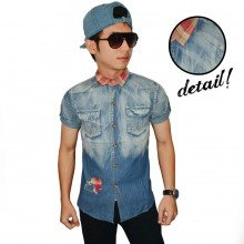 Kemeja Short Denim Square Patch