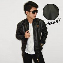 Jacket Varsity Leather Synthetic Black