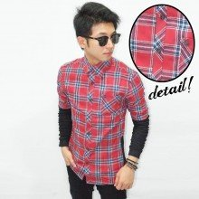 Kemeja Flannel Check Sleeve Joggers Red