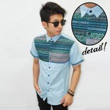 Kemeja Short Line Tribal Soft Blue