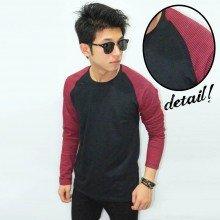 Raglan Black Red Sleeve Stripe