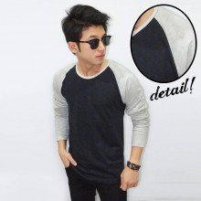 Raglan Tee Long Sleeve Black Soft Grey