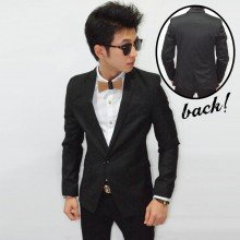 Blazer Pocket Polkadot Accent Black