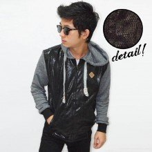 Jacket Hoodie Leather Snake Shiny Black