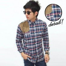 Kemeja Flanel Square Suede Patch Navy