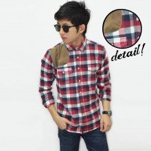 Kemeja Flanel Square Suede Patch Red