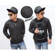 Jacket Varsity Leather Black Faded