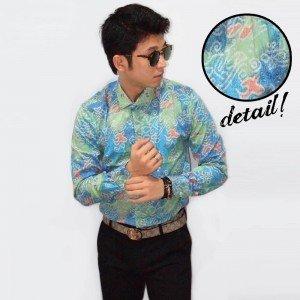 Kemeja Abstract Batik Modern Soft Blue