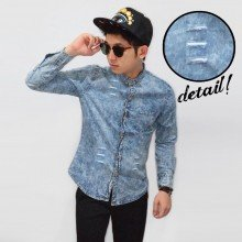 Kemeja Denim Wash With Small Ripped Soft Blue