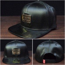 Topi Snapback Super Crew Leather Black