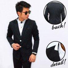 Blazer Collar Leather Double Button Black
