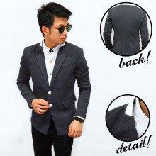 Blazer Collar Leather Double Button Dark Grey