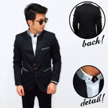 Blazer Mandarin Collar Three Button Black