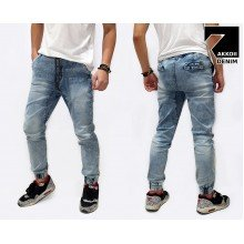 Jogger Pants Denim Sandblasted Kakkoii Blue Faded