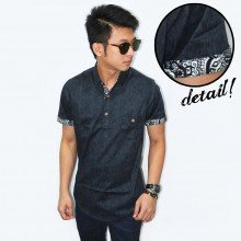Kemeja 3/4 Placket Batik List Grey