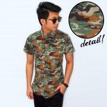 Kemeja Short Corduroy Army Camouflage Dark Green