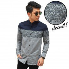 Kemeja Cut And Sew Motif Batik Grey
