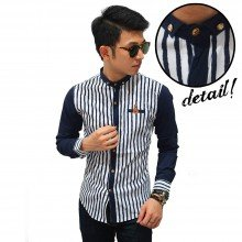 Kemeja Premium Body Striped Navy