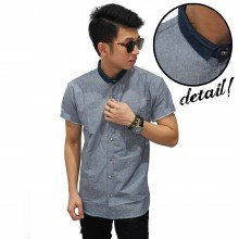 Kemeja Short Shanghai Chambray Grey