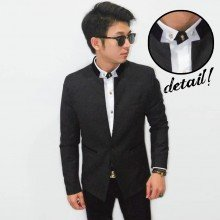 Korean Mens Blazer Stand Collar