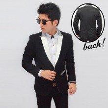 Blazer Fashion White Front Collar